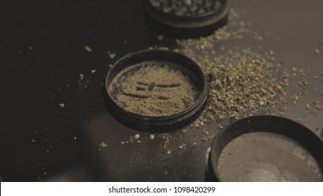 Herb Grinder close-up. Weed grinder for smoking joints & blunts