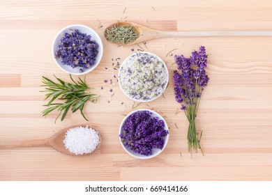 Herb salt of rosemary and lavender blossoms