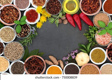 Herb and spice background border with fresh and dried herbs and spices on slate.