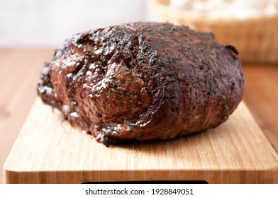 herb and spice rubbed beef rib roast fresh from the oven