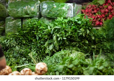 Herb store at popular marketplace Carmel Market, Shuk HaCarmel in Tel Aviv, Israel