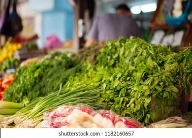 Herb store at popular marketplace Carmel Market, Shuk HaCarmel in Tel Aviv, Israel