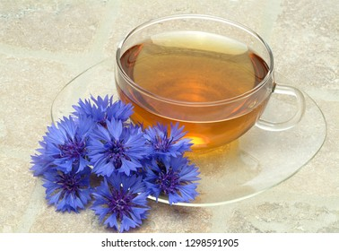 Herb tea made of cornflower, centaurea cyanus