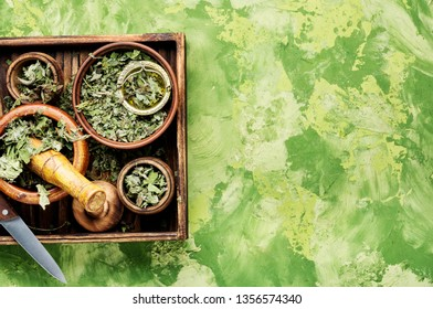 Herbal alternative medicine.Dry leaves of coltsfoot.Dried coltsfoot.