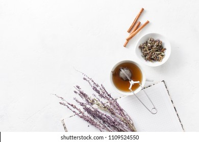 Herbal aromatic medicinal tea. A decoction of medicinal plants. Brewing tea with a strainer.