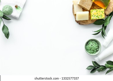 herbal cosmetic set for spa with soap and bath salt on white background flatlay mock-up