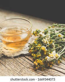 Herbal cup tea with dry flowers