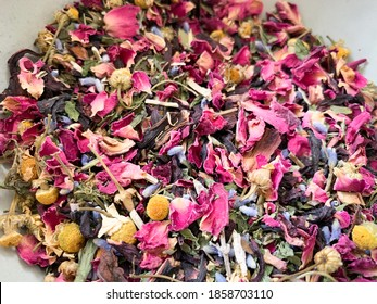 Herbal dried flowers tea infusion blend with rose, chamomile, hibiscus, lavender and lemon balm. Warm tea or iced refreshing tea.