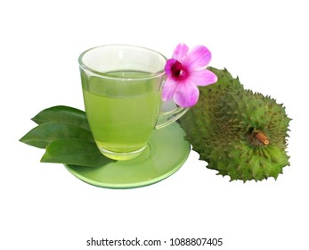 Herbal drink of Soursop, Prickly Custard Apple,Annona muricata,guyabano in cup with leaves and fruit isolated on white background