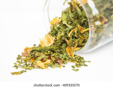 Herbal dryed green tea with yellow petal.