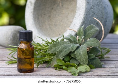 Herbal essence with a pestle and mortar, outdoors