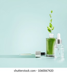 Herbal facial skin care cosmetics bottle with dropper and pipette at blue background . Natural  serum or oil products with green medicinal herb and leaves, front view . Branding mock-up