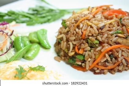 herbal fried brown rice - vegetarian thai food, healthy food