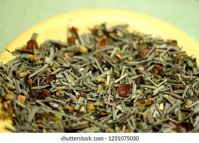 Herbal and fruit tea mix. Close-up, selective focus.