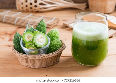 Herbal juice of  Bitter gourd (Balsam apple, Bitter cucumber ) in a glass