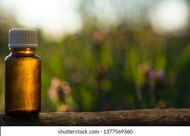 Herbal medicine or cosmetics, bottle. Natural remedies, aromatherapy -  small bottle.