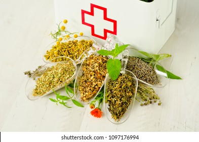 Herbal Medicine. Dried herbs for infusions. First aid box in background.