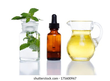 Herbal medicine dropper bottle with mint water with oil