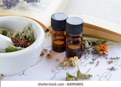 herbal medicine with herbs on science sheet