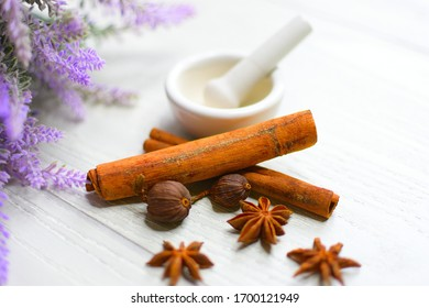 herbal medicine with lavender background