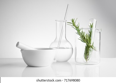 herbal medicine natural organic and scientific glassware, Research and development concept.