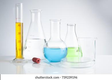 herbal medicine natural organic and scientific glassware, Research and development concept.