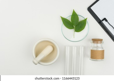 herbal medicine research concept. the organic green leaves in watch glass with a mortar and pestle, three test tubes and a clipboard with a bottle on the white table in laboratory.