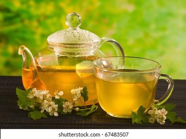 herbal medicine, tea with hawthorn flower