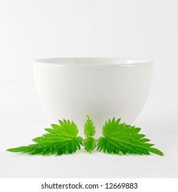 herbal nettle tea in bowl
