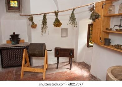 herbal room - different dried plants made for alternative medicine, photo taken in Red Cloister (slovak: Cerveny klastor) museum - ancient monastery in Slovakia