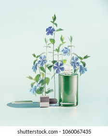 Herbal skin care cosmetics and beauty concept. Green facial Serum or oil bottle with dropper or pipette and medical flowers and herbs stand at  blue background, front view.