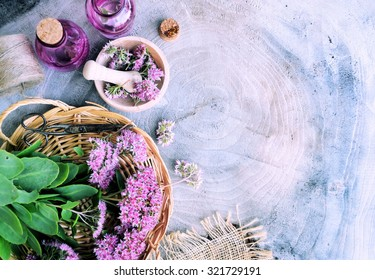 herbal spa, on a wooden background, bio product