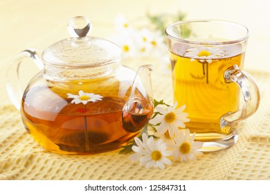 herbal tea with camomile flowers