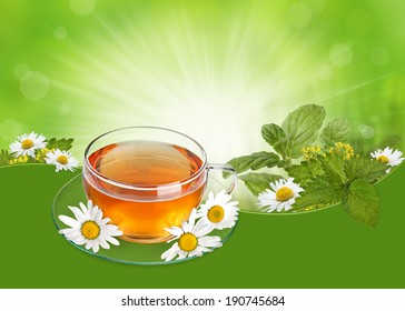 Herbal tea concept with a cup of tea, camomile flowers and herbs