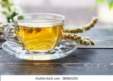 Herbal tea with different ingredients, mountain tea