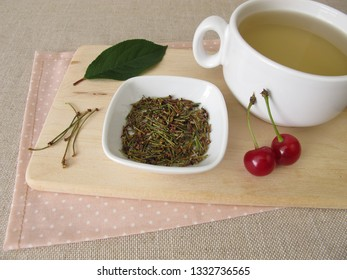 Herbal tea from dried cherry stems
