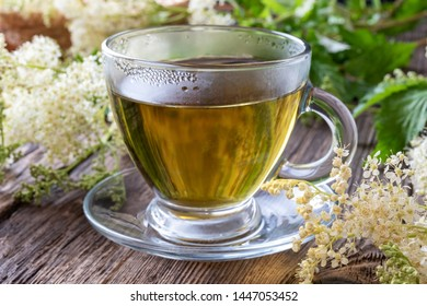 Herbal tea with fresh meadowsweet flowers on a table - used as a natural alternative to aspirin