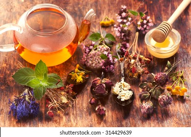 Herbal tea, herbs and flowers