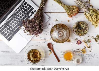 Herbal tea for home medicina, flat lay on table