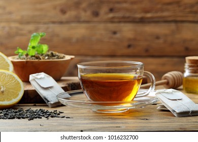 herbal or tea  herbal infusion in glass cup