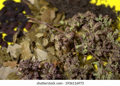 Herbal tea ingredients are dry herbs and berries. Ayurvedic products for brewing medicinal tea Phytotherapeutic herbal collection.