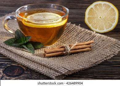Herbal tea with lemon ,cinnamon  and fresh mint leaves