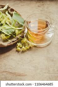 Herbal tea with linden flowers