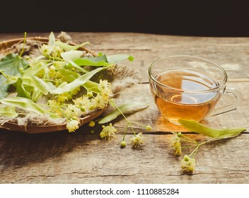 Herbal tea with linden flowers/toned photo