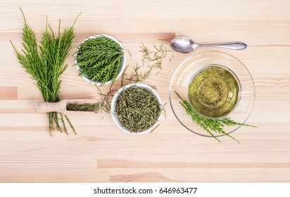 Herbal tea made from field horsetail / herb tea / medicinal herb