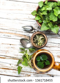Herbal tea.Cup of herbal tea with nettle.Tea with fresh nettles.Stinging nettle