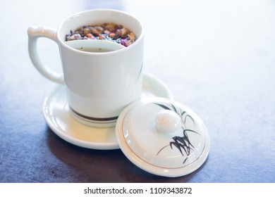 Herbal tea on the table