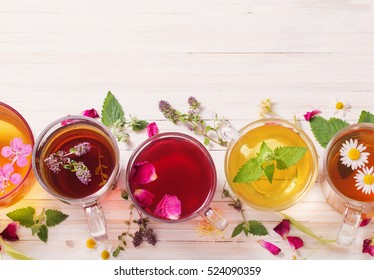 herbal tea on a white wooden background