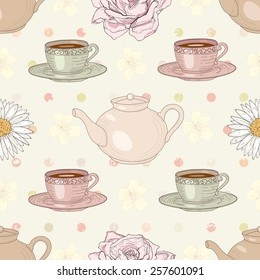 Herbal tea rose and chamomile with cups and teapots on polka dot background seamless pattern