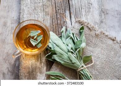 Herbal tea with sage/toned photo